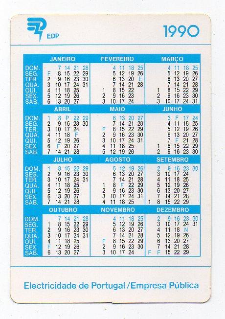 1990 Calendario.Os Livros Do Sotao Calendario De Bolso 1990