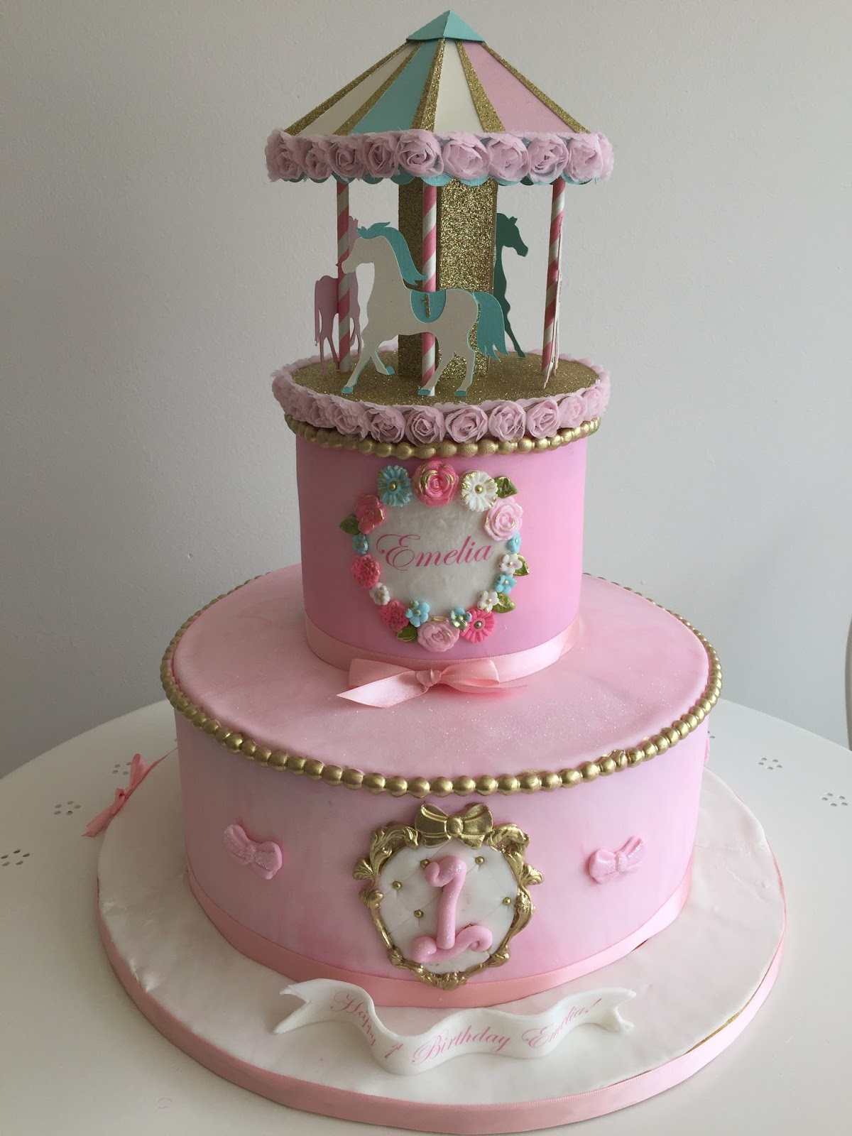 Baking With Roxanas Cakes 1st Birthday Cake Carousel Themed