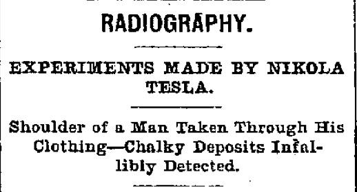 nikola tesla - radiography experiments