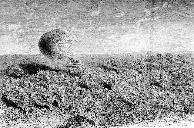 Camille Flammarion balloon illustration, windy balloon