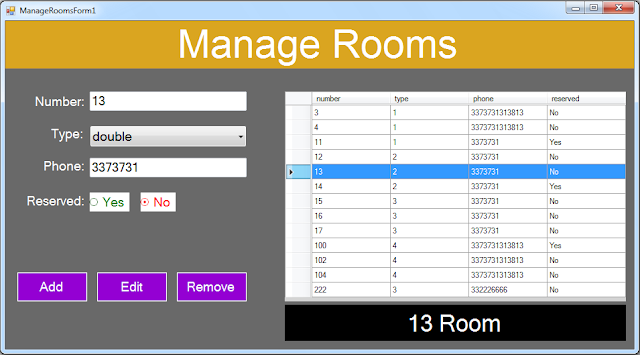 vb.net hotel management system - manage rooms form