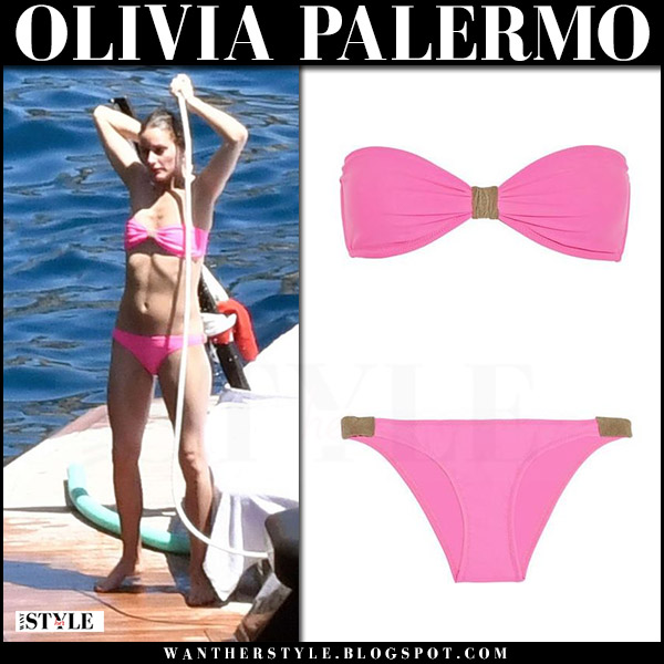 Olivia Palermo in hot pink bikini heidi klein capri vacation style august 2017