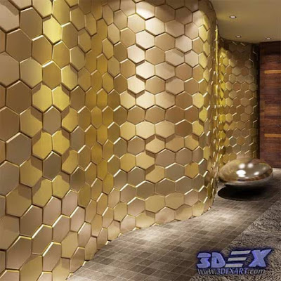3d gypsum wall panels, 3d plaster wall paneling design, decorative wall panels, golden walls