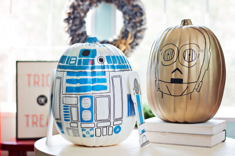star wars jedi r2-d2 c-3po pumpkin no carve easy DIY