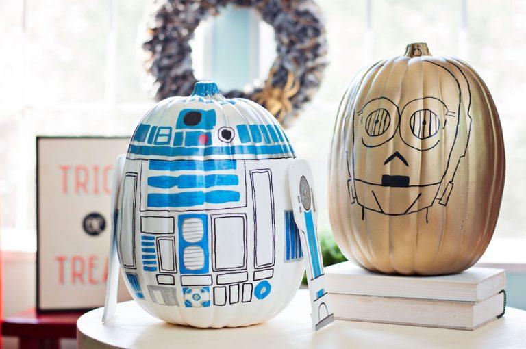 star wars jedi r2-d2 c-3po pumpkin no carve easy DIY