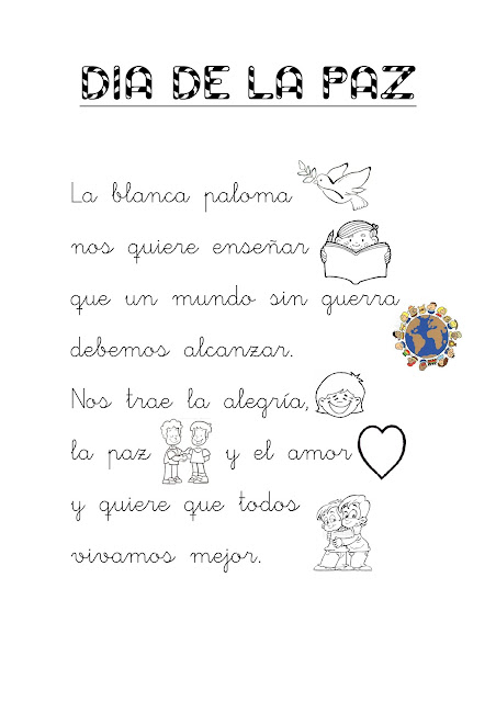 Resultado de imagen de poesías sobre la paz para niños