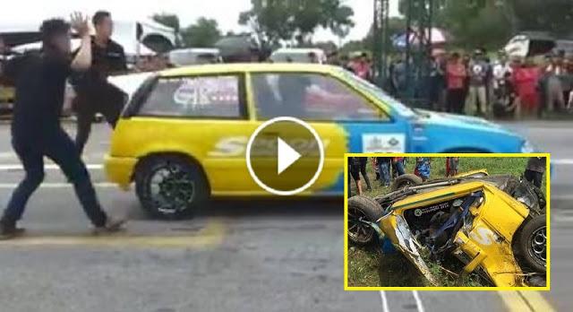 gambar drag race di miri, kemalangan drag race, drag race, kereta drag race
