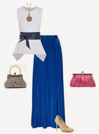 Saia azul comprida tecido brilhante, top com fita larga a marcar cintura, sapatos salto nude, clutch e colar vintage