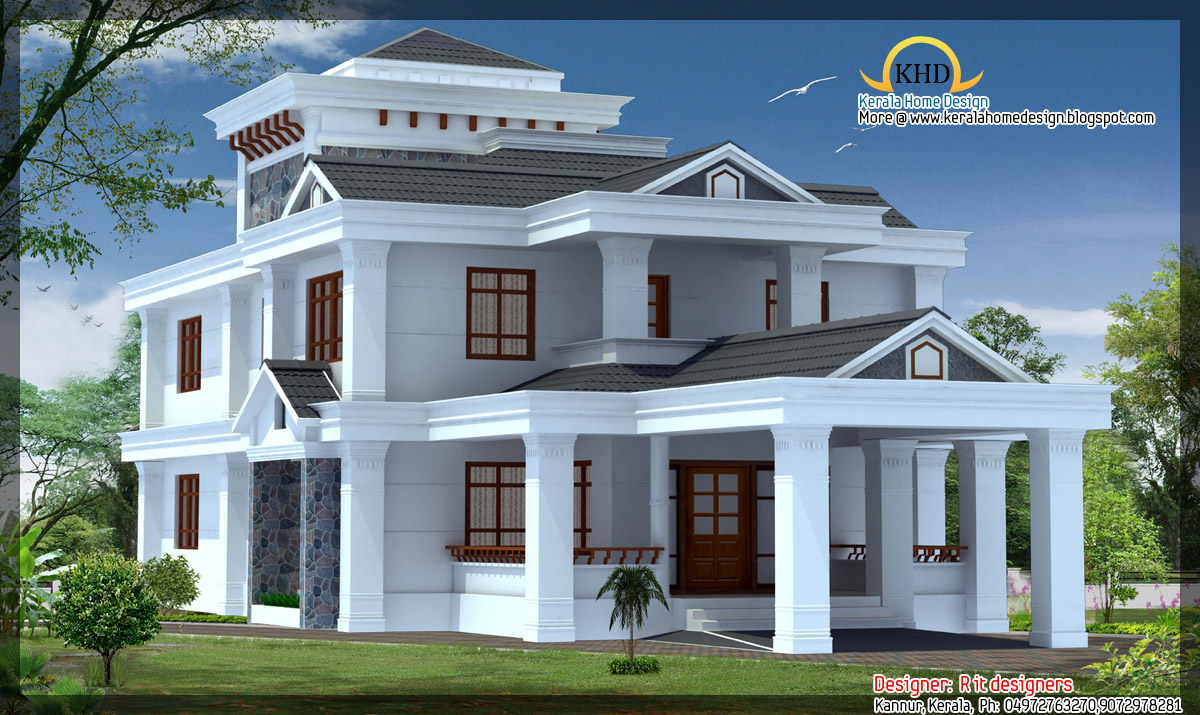 4 beautiful house elevations kerala home design and for Kerala house plans and designs