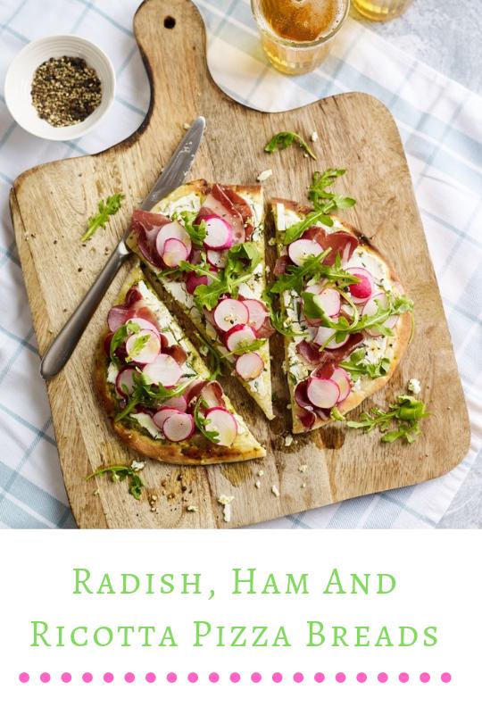 Radish, Ham And Ricotta Pizza Breads-