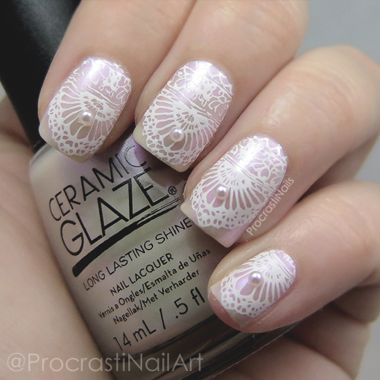 Pink and white lace stamped nail art with pearls