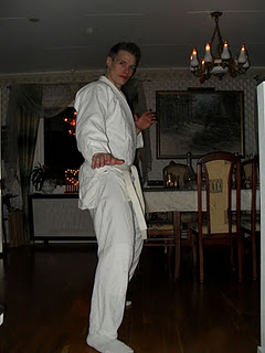 Martin dressed with a Kung Fu suit