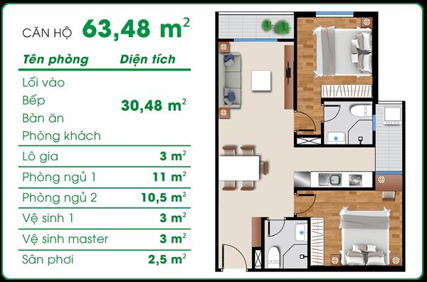Thiết kế căn hộ asa light 54m2
