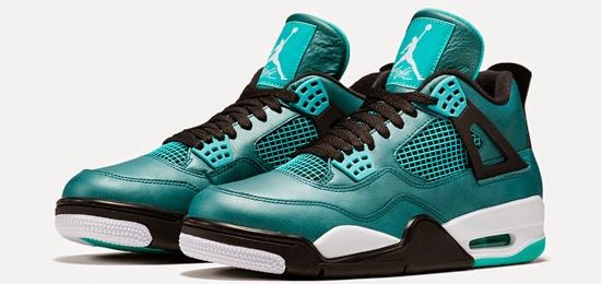 outlet store f8a8b 1e381 This Air Jordan 4 Retro comes in a teal, white, black and retro colorway.  Featuring a remastered teal based leather upper with white, black and retro  ...