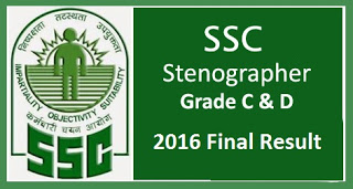 SSC Stenographer 2016 Revised Final Result Out: Check Cut Off Here