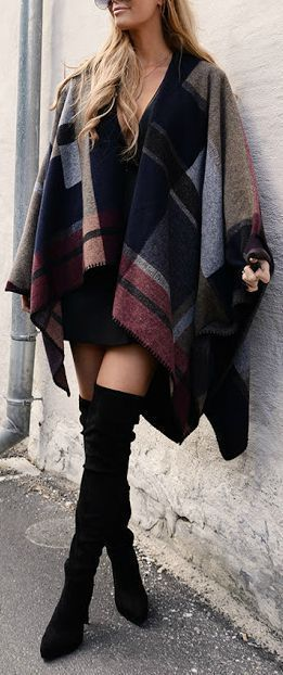 cozy outfit : plaid poncho + dress + over knee boots