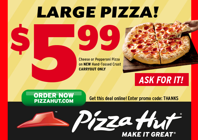 Apply the Pizza Hut Coupon at check out to get the discount immediately. Don't forget to try all the Pizza Hut Coupons to get the biggest discount. To give the most up-to-date Pizza Hut Coupons, our dedicated editors put great effort to update the discount codes and deals every day through different channels.