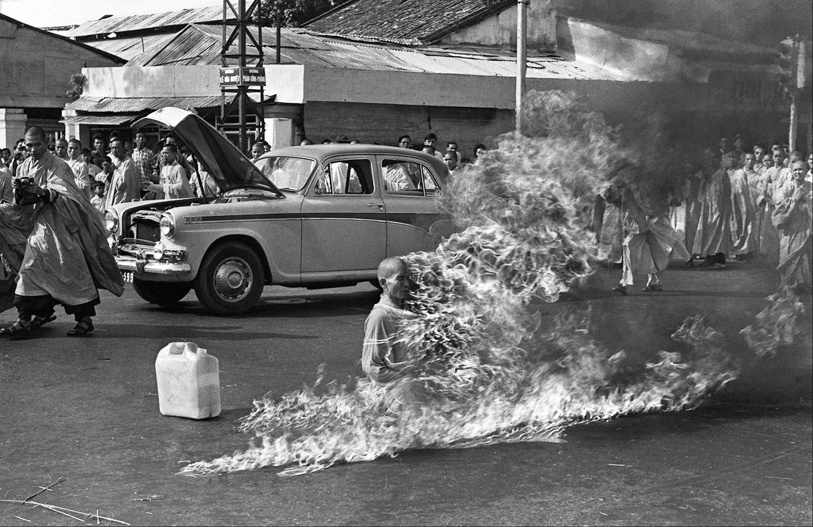 Image result for a buddhist monk burns himself to death