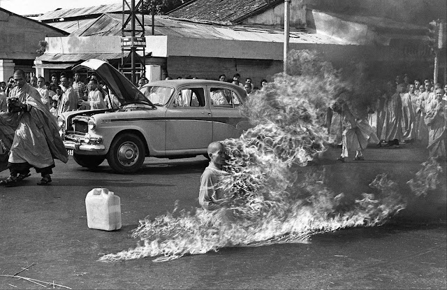 In June of 1963, Vietnamese Mahayana Buddhist monk Thích Quang Duc burned himself to death at a busy intersection in Saigon.