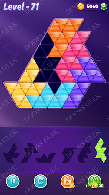 Block! Triangle Puzzle Intermediate Level 71 Solution, Cheats, Walkthrough for Android, iPhone, iPad and iPod