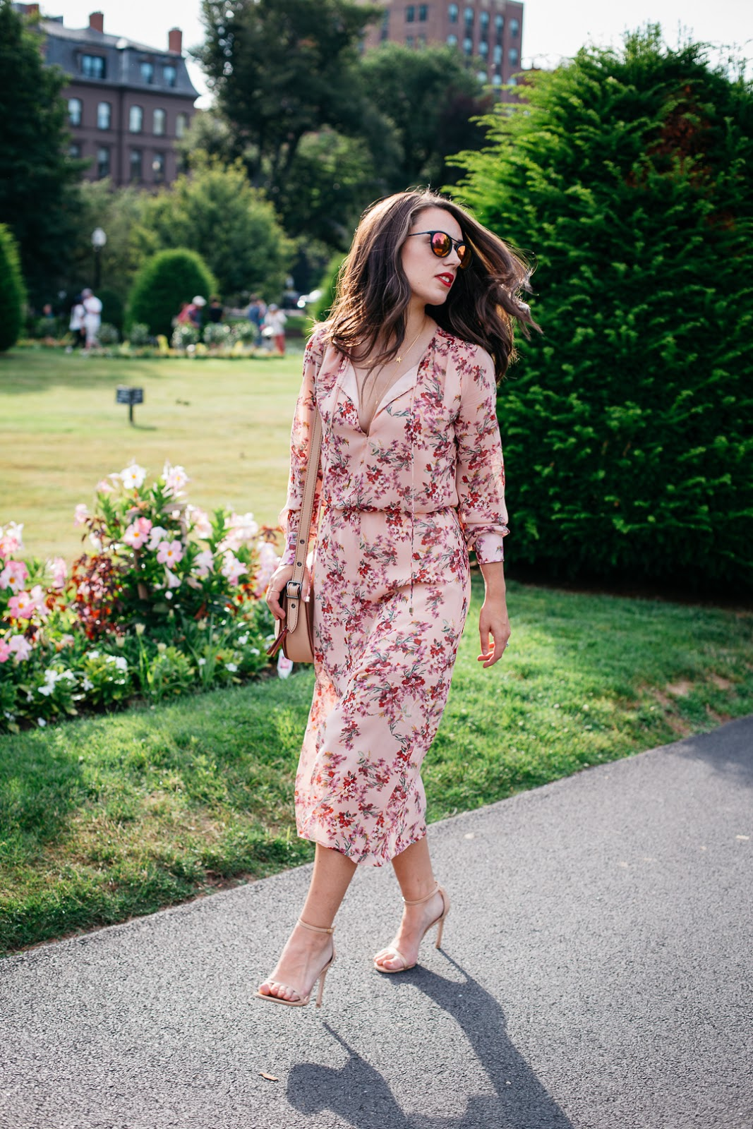 How pretty is this pink floral midi dress from WAYF? Even better yet it's currently on sale
