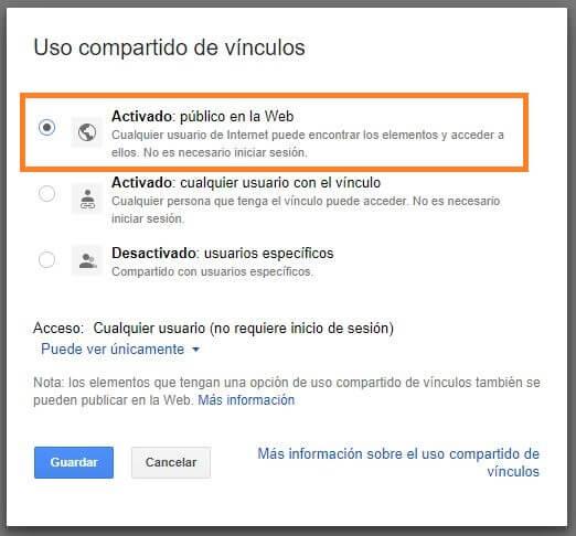 opcion publica carpeta google drive