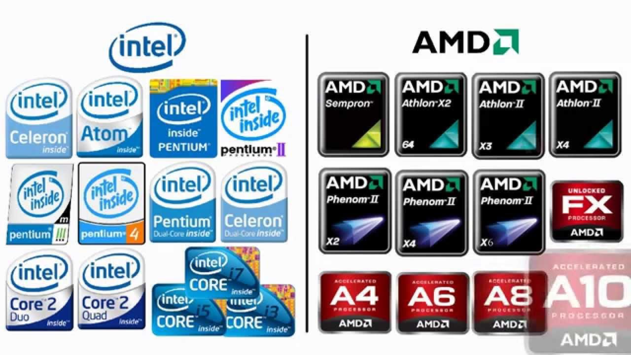 لكن نجد نوعين من المعالجات المتعارف بها في أجهزة الكمبيوتر و هي Intel و AMD،أكيد يوجد فرق بينهما و لكل معالج فئات أو تصنيفات خاصة به و إليكم بعض هذه الفئات ...