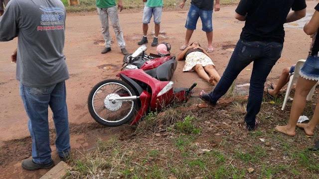 Acidente entre duas motocicletas deixa pessoa feridaem em Cacoal