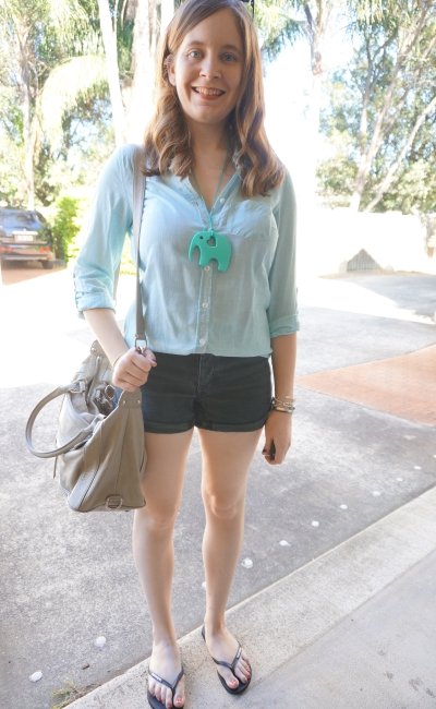 mint pinstripe button up shirt casual denim shorts OneTeaspoon outfit | Away From Blue
