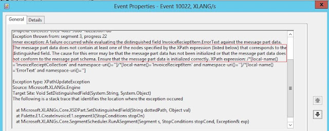 The cause for this error may be that the message part data has not been initialized