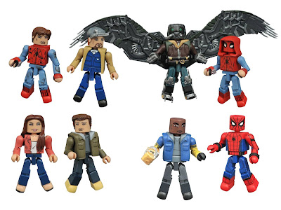 "Spider-Man: Homecoming Marvel Minimates Series by Diamond Select Toys - ""Homemade Suit"" Spider-Man with the Vulture, Spider-Man with Shocker, Peter Parker with Aunt May & Battle Damaged Spider-Man with Tinkerer"