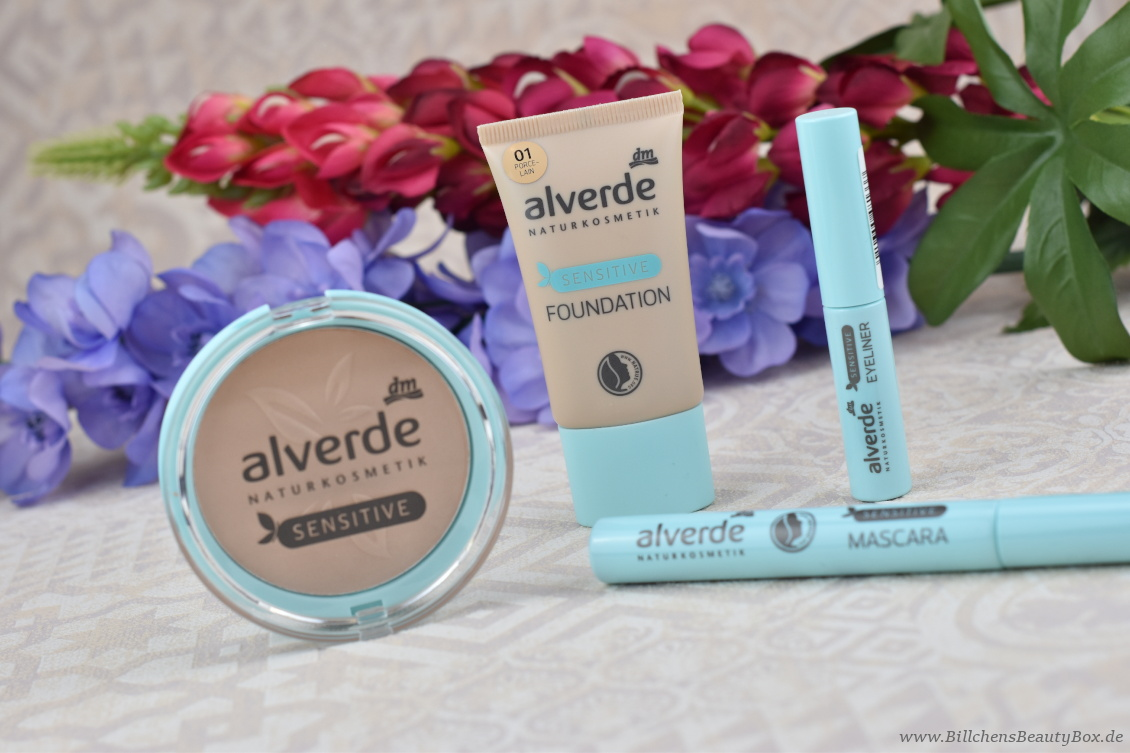 alverde Naturkosmetik - Make-Up Review Favoriten 2018 Sensitiv Reihe - Mascara, Eyeliner, Foundation und Puder