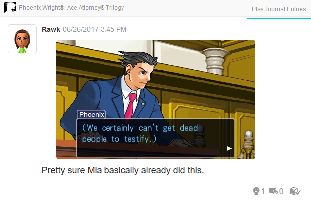 dead people testify Mia Phoenix Wright Ace Attorney Trilogy 3DS Miiverse Capcom Nintendo