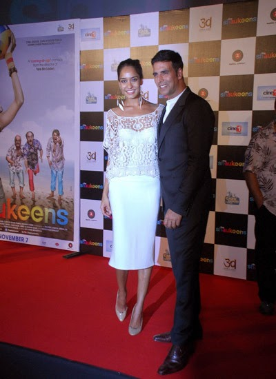 Akshay and Lisa Haydon at movie The Shaukeens trailer launch in Mumbai