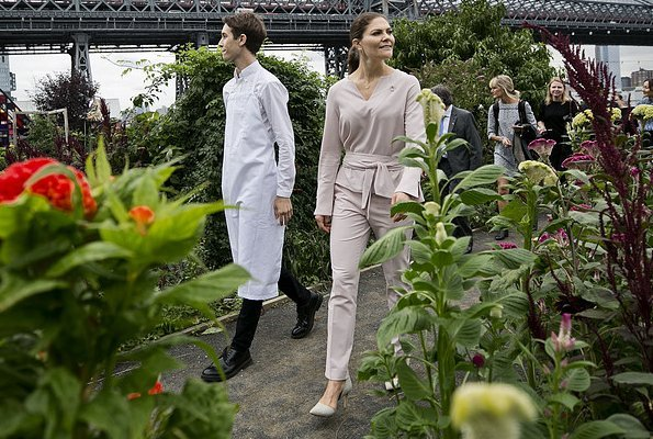 Crown Princess Victoria wore By Malene Birger pumps and she carried By Malene Birger bag, pink top and trousers