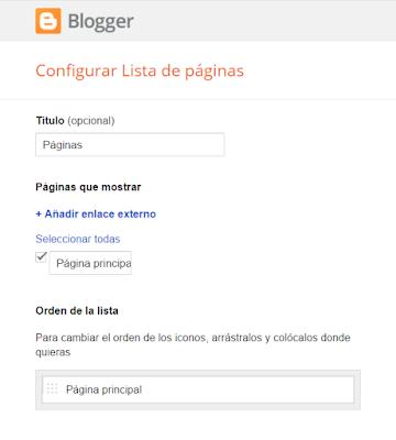 blogger configurar lista de paginas