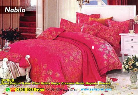 Sprei Custom Katun Lokal Nabila Bunga Ornamen Merah Magenta Dewasa