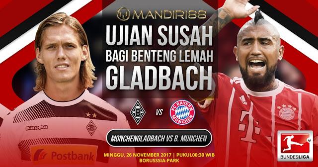 Prediksi Bola : Borussia Monchengladbach Vs Bayern Munchen , Minggu 26 November 2017 Pukul 00.30 WIB