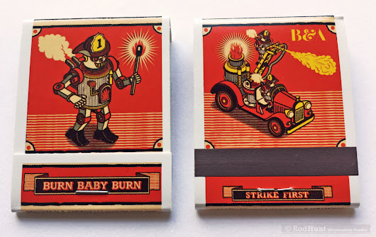 Latest Work: Burn Baby Burn! Illustrated Matchbook Project