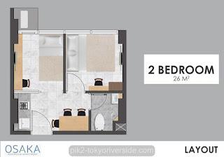 Tipe 2 BR Apartemen Osaka Riverview