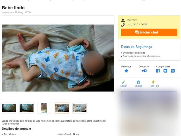 Pai é preso por tentar vender filho de 10 dias em site de comércio eletrônico