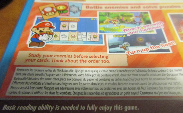 Paper Mario Color Splash back of the box description basic reading ability