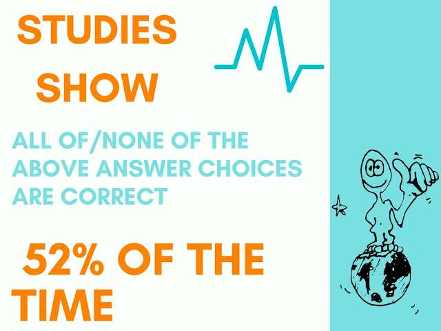 Multiple choice questions and answers data shows 52% of all/none of the above answer choices are correct