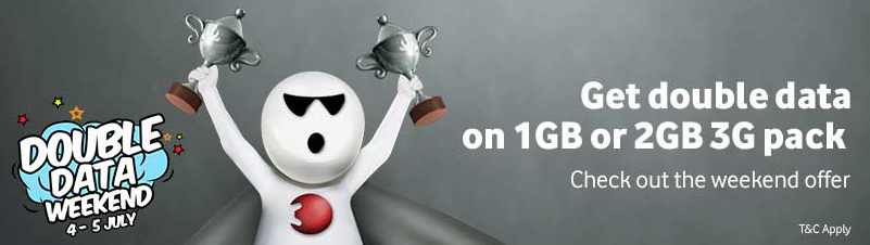 Vodafone Double Data Offer - Recharge for 1GB Pack & Get 2GB Data at Same Price