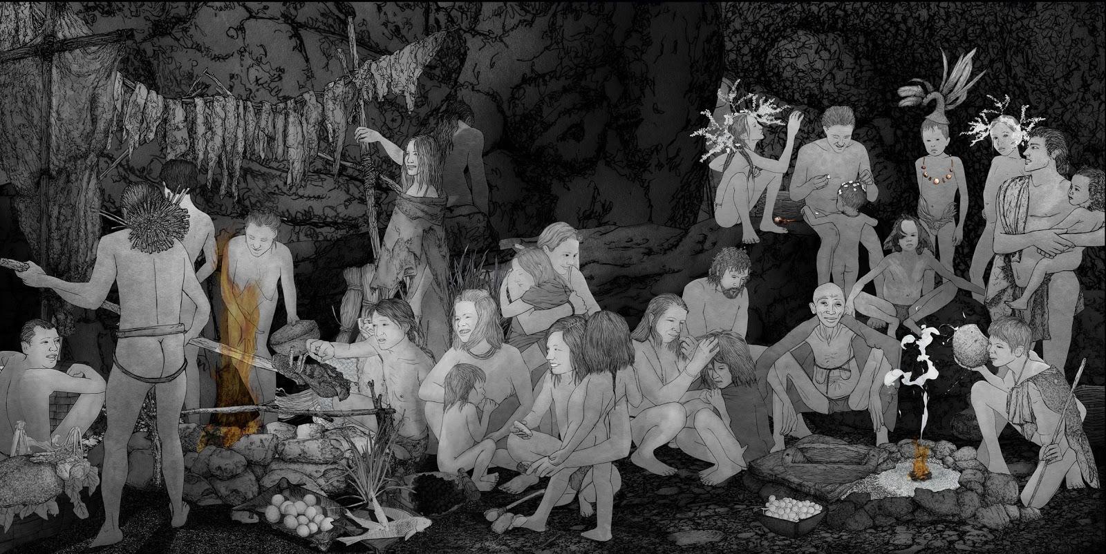 espacios de vida, mujeres prehistoria, dibujo