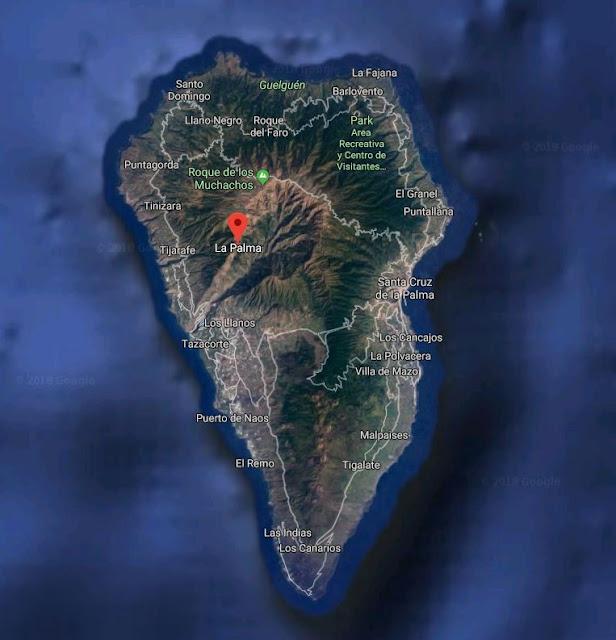 La Palma widok z satelity