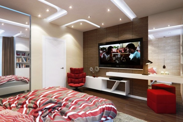 Lovely Living Room With TV Wall Stylish Bedroom Led Ceiling Board Single Storey House Design Amazing Garden