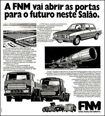 caminhões FNM, Fiat anos 70, Alfa Romeo,  anos 70.  brazilian advertising cars in the 70. história da década de 70; Brazil in the 70s; propaganda carros anos 70; Oswaldo Hernandez;
