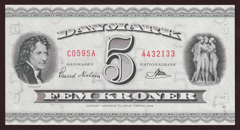 Banknotes of Denmark 5 krone banknote 1936 Albert Bertel Thorvaldsen