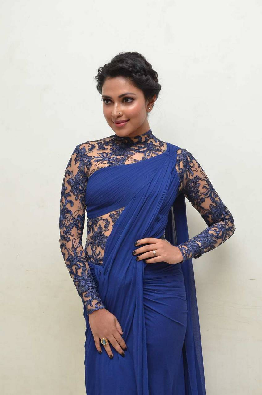Amala Paul Stills In Blue Dress